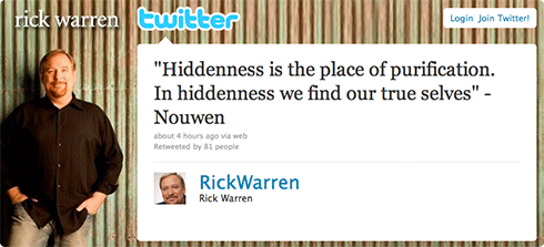 Rick Warren tweet