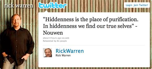 Rick Warren tweet