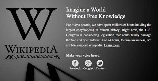 Screenshot of Wikipedia blackout